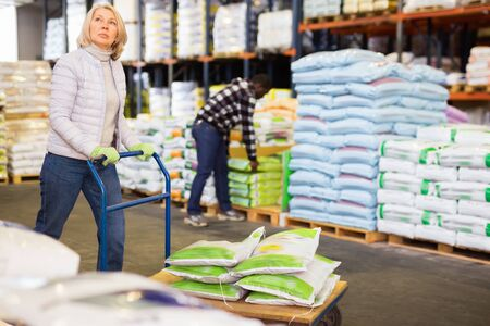 Portrait of middle aged diligent cheerful  woman working in warehouse, pushing handtruck with bags Stockfoto