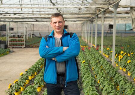 Portrait of confident owner of hothouse standing with arms crossed on background with green plantation of ornamental sunflowers
