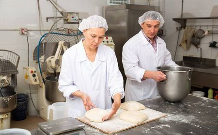 Male and female baker working together in bakery shop