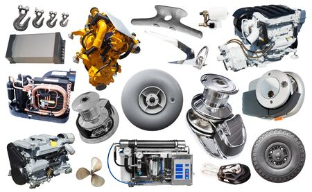Yacht parts and supplies collage isolated at white background