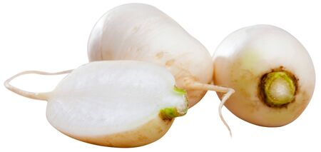 Whole and sliced fresh white turnips. Vegetarian food concept. Isolated over white background Banco de Imagens