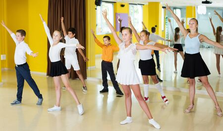 Emotional children  posing at dance  class