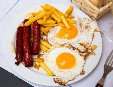 Huevos con chistorra, dish of traditional Navarra cuisine