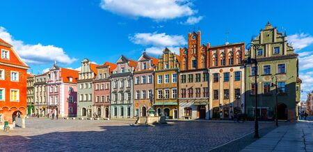 Image of Poznan city historical streets and old market square in Poland