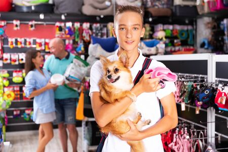 Caring teenage boy visiting pet store in search of supplies for his small dog