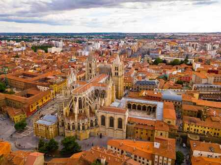 Aerial view of Leon cityscape with Santa María de Leon Cathedral and bullring, Spain
