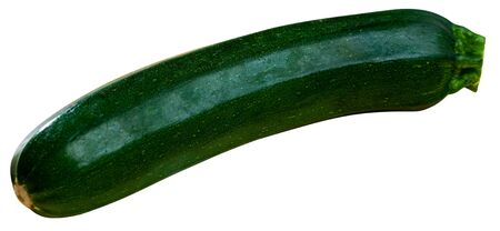 One fresh zucchini. Healthy vegetarian ingredient. Isolated over white background Stock Photo
