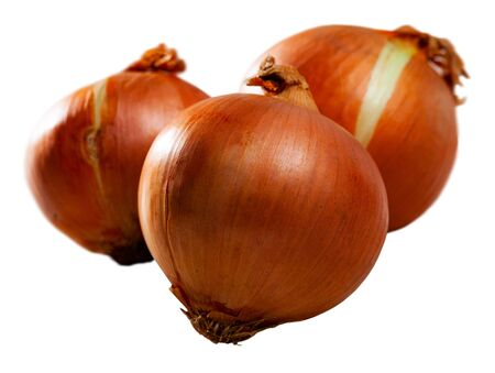 Closeup of raw organic whole onions. Isolated over white background