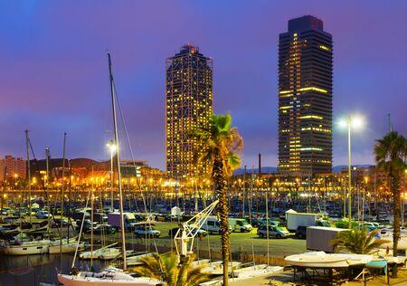 Evening view of Port in Barcelona. Catalonia, Spain Standard-Bild