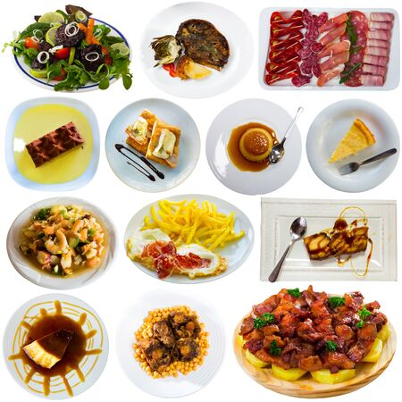 Collection of traditional Spanish meals isolated on white background. Concept of national cuisine