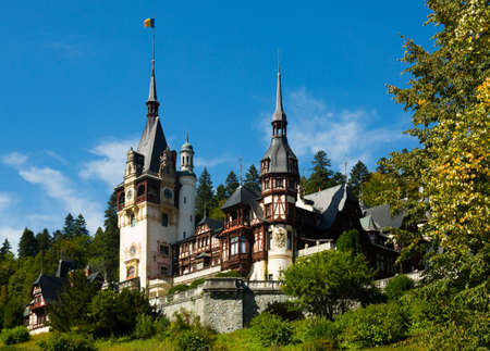 View of Peles Castle, Neo-Renaissance castle in Carpathian Mountains, near Sinaia, Romania