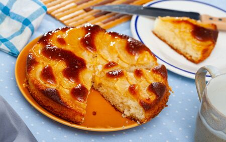 Tender delicious chiffon pie with caramelized apples. Homemade cakes
