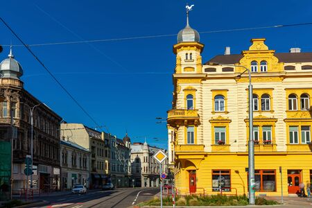 Peculiar architecture of Ostrava streets. View of colorful buildings on old street in Czech city on autumn day