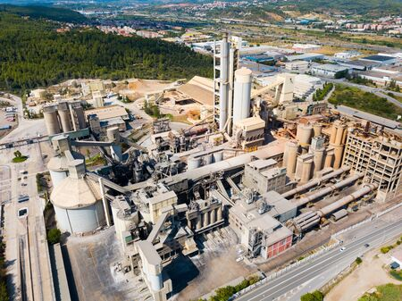 Industrial background with large cement factory. Aerial view 版權商用圖片