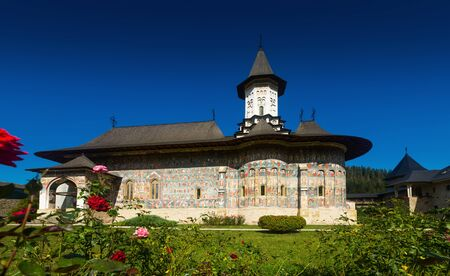 Sucevita Monastery church decorated of paintings is cultural attraction from Romania