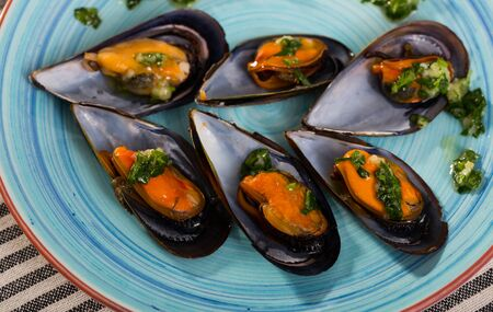 Gourmet steamed mussels served with sauce of oil, garlic and parsley on blue plate Banque d'images