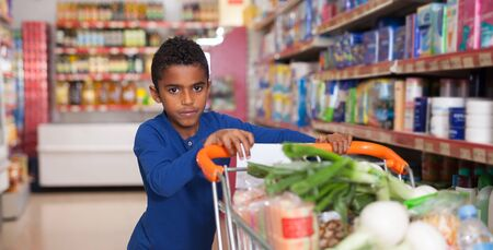 Portrait of cute African boy customer with shopping cart full of food products in supermarket