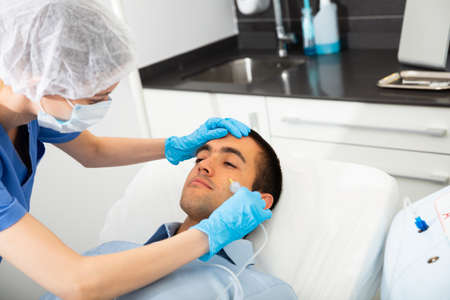 Client of aesthetic medicine clinic during carboxy therapy
