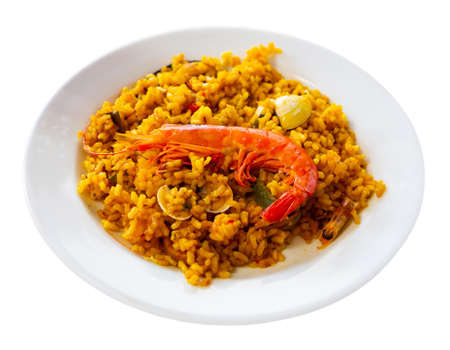 Paella with shrimps and mussels