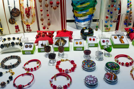 Jewelries from Murano glass in gift shop in Venice
