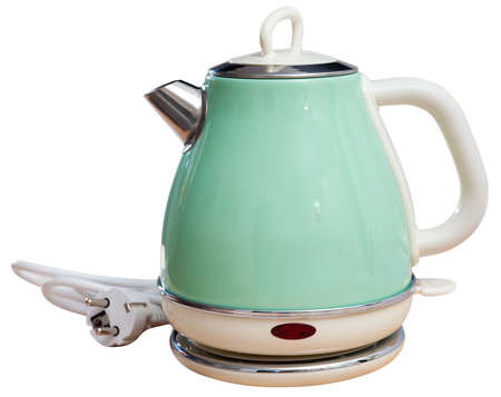 Metal light green electric kettle on white background Stock fotó - 152476680