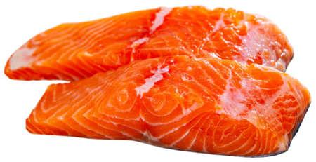 Raw seafood, fresh fillet salmon fish Stock Photo