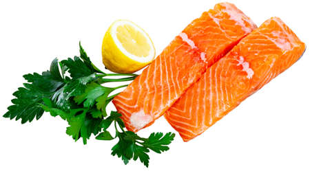 Fresh raw salmon fillet on white background Banque d'images