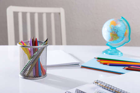 School stationery on desk