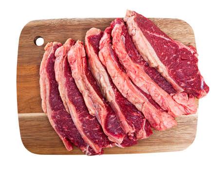 Sliced raw veal steak