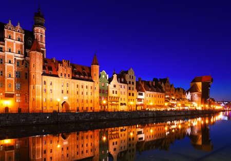 Night view of Gdansk embankment