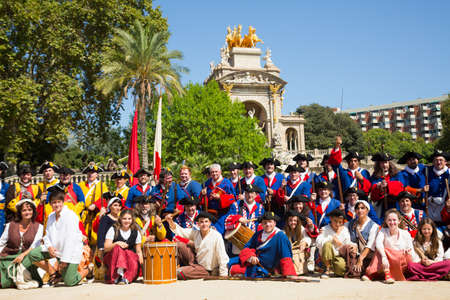 Group of people dressed as trabucaires on National Day of Catalonia