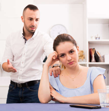 Woman is upset because she quarrel with her husband