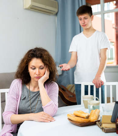 Offended mother after disagreements with teenager son
