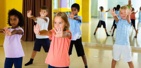 Gymnastics lesson in elementary school