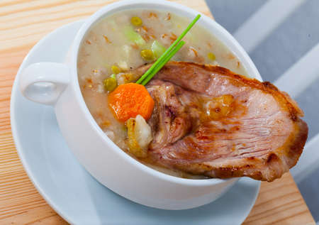 Rich mutton soup with cabbage