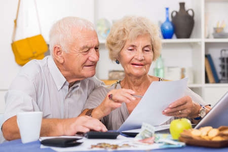 Happy senior spouses with bills and laptop Фото со стока