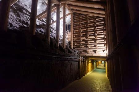 Underground passages and halls at Wieliczka Salt Mine. Poland