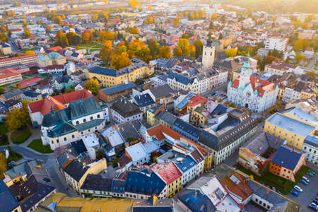 View from drone of Sumperk, Czech Republic