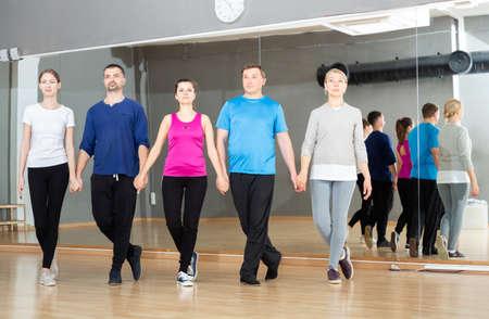 People training celtic dances in studio