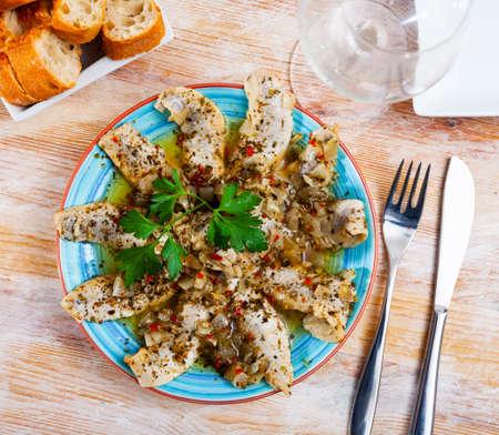 Homemade spicy marinated herring