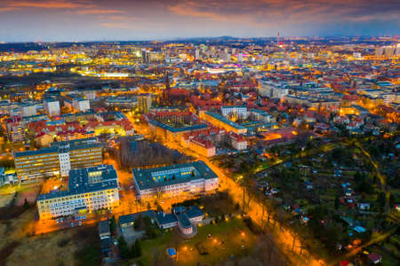 Panoramic view from the drone on the city Katowice.