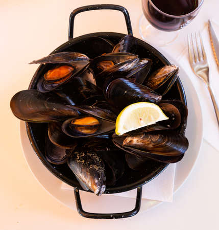 Steamed mussels. High quality photo
