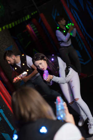 Girl during lasertag game