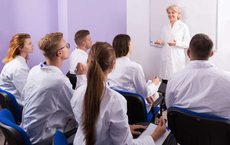teacher lecturing to medical students Stok Fotoğraf