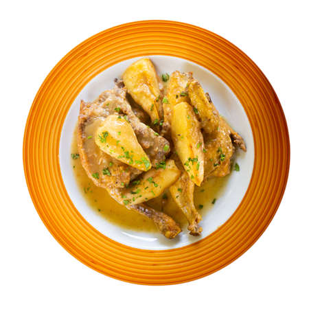 Picante de pollo, spicy chicken with pears