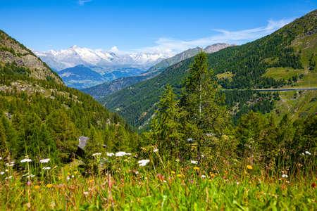 Panoramic view on Simplon pass in Switzerland