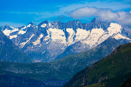 View of slopes and top of mountain Aiguille Verte. Western Alps