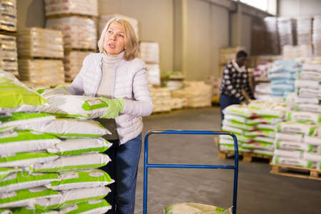 Focused woman loading sacks on trolley cart Stock Photo