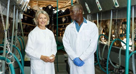 Two workers near milking line