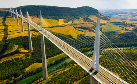 Cable-stayed Millau Viaduct spanning Tarn River valley, France